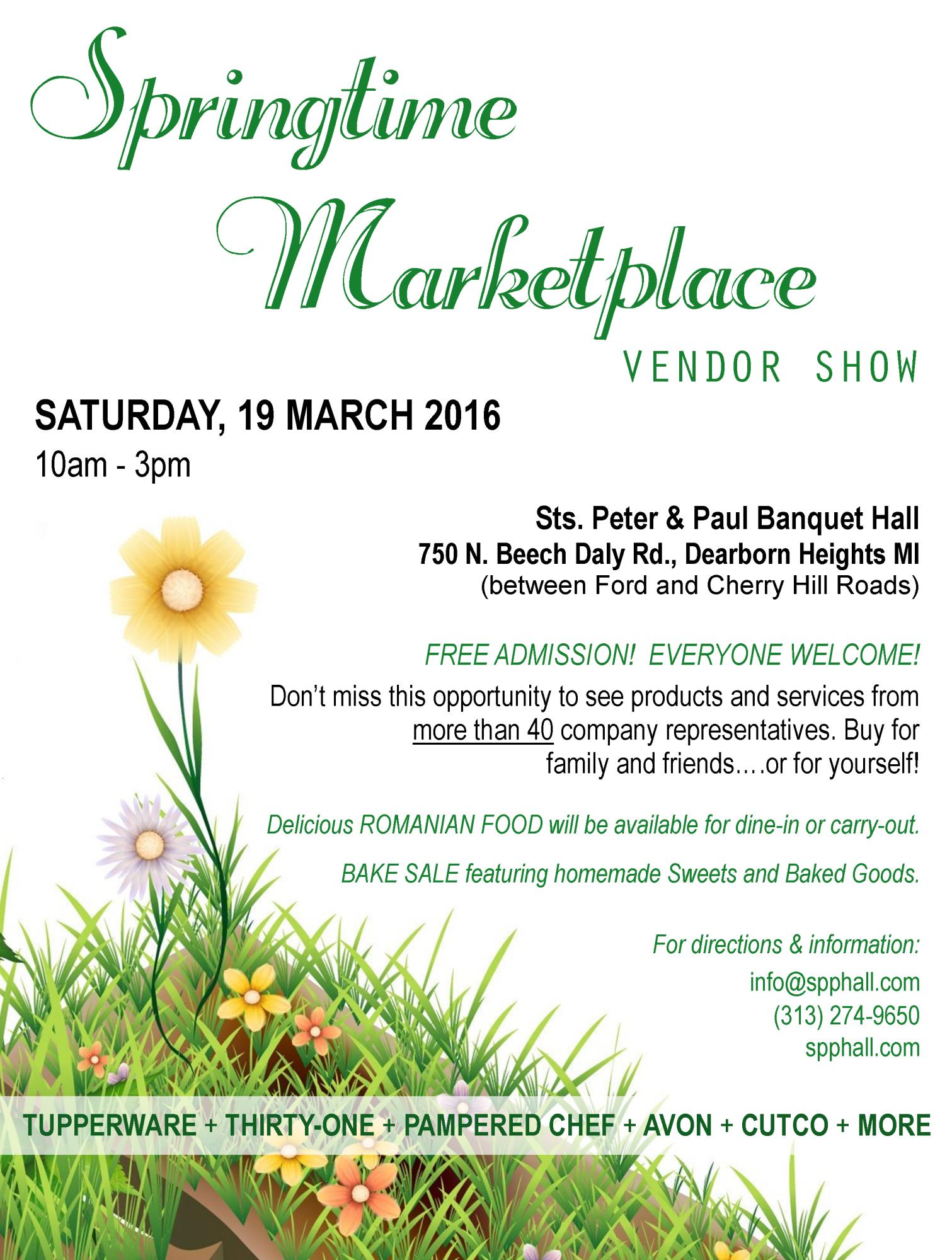 """COMING EVENT: """"Springtime Marketplace"""" Vendor Show – March"""